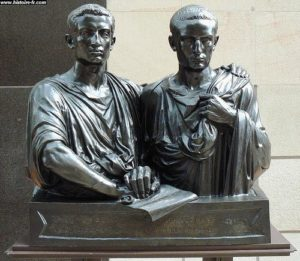Busts of Tiberius and Gaius Gracchus made by Eugene Guillaume' in the 19th century